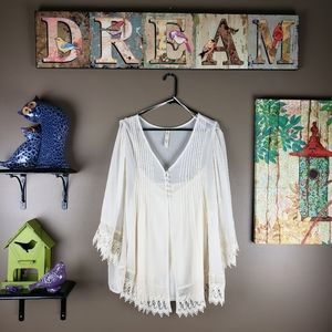 ADIVA SHEER crochet LACE blouse & camisole size 3X